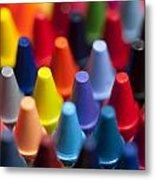 Rows Of Multicolored Crayons  Metal Print