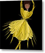 8 Yellow Ballerina Metal Print