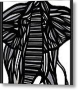 Batra Elephant Grey Black White Metal Print