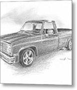 86 Chevy Truck Pencil Portrait  Metal Print