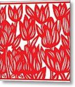 Sandvig Flowers Red White Metal Print