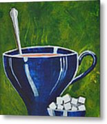 8x10 Tea Cup With Sugar Cubes Metal Print