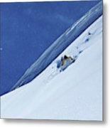 A Athletic Skier Rips Fresh Deep Powder Metal Print