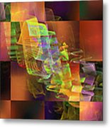 Abstract Checkered Pattern Fractal Flame Metal Print