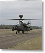 Ah-64 Apache Helicopter On The Runway Metal Print