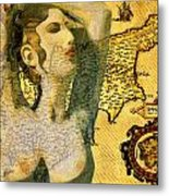 Ancient Cyprus Map And Aphrodite Metal Print