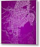 Cali Street Map - Cali Colombia Road Map Art On Colored Back Metal Print