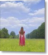 Girl On Meadow Metal Print