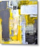Busy Busy - Grey And Yellow Abstract Art Painting Metal Print