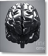 Metallic Brain Metal Print