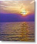View Of Sunset Through Clouds Metal Print