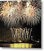 Wa, Seattle, Fireworks On July 4th Metal Print