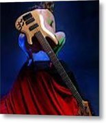 9091 Nude With Bass Guitar Metal Print