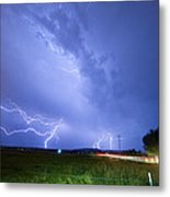 95th And Woodland Lightning Thunderstorm View Metal Print