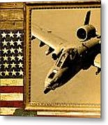 A-10 Warthog Rustic Flag Metal Print