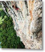 A Athletic Man Rock Climbing High Metal Print