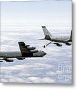 A B-52h Stratofortress Refuels Metal Print by Erik Roelofs