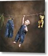 A Baby On The Clothesline Metal Print