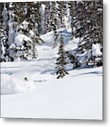 A Backcountry Skier A Turn Near Ymir Metal Print
