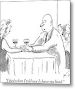 A Bald Man Speaks To A Woman At A Restaurant Metal Print by Mike Twohy
