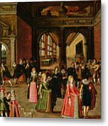 A Ball During The Reign Of Henri Iv Oil On Panel Metal Print
