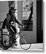 A Barefoot Cyclist With Beard And Hat In San Francisco Metal Print by RicardMN Photography