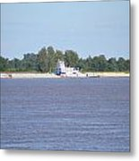 A Barge On The Mississippi River Metal Print