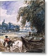 A Barge On The Stour Metal Print