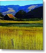 A Barn And Field In The Morning Metal Print