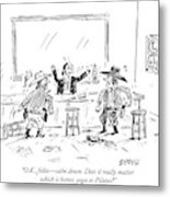 A Bartender In A Saloon Looks Alarmed As Two Metal Print