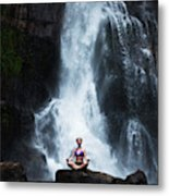 A Beautiful Young Woman Sitting Metal Print