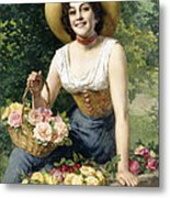 A Beauty Holding A Basket Of Roses Metal Print