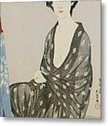 A Beauty In A Black Kimono Metal Print by Hashiguchi