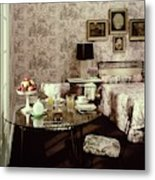A Bedroom With Matching Wallpaper Metal Print