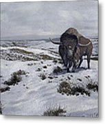 A Bison Latifrons In A Winter Landscape Metal Print