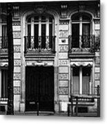 A Black And White Street In Paris Metal Print