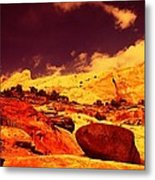 A Black Rock And Blue Sky Metal Print