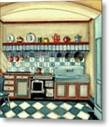 A Blue Kitchen With A Tiled Floor Metal Print