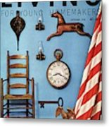 A Blue Wall With Decorations Metal Print