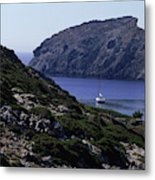A Boat Sailing In The Valley Metal Print