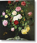 A Bouquet Of Roses In A Glass Vase By Wild Flowers On A Marble Table Metal Print