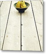 A Bowl Filled With Pears Metal Print by Priska Wettstein