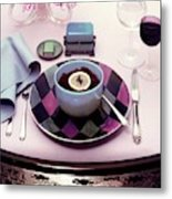 A Bowl Of Food On A Pink Table Metal Print