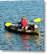 A Boy And His Canoe Metal Print