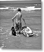 A Boy And His Dog Go Surfing Metal Print
