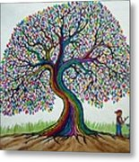 A Boy His Dog And Rainbow Tree Dreams Metal Print