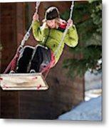 A Boy Plays Outside In Lake Tahoe Metal Print