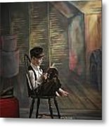 A Boy Posed Reading Old Books Victoria Metal Print