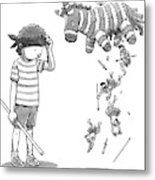 A Boy Watches As The Pinata He Just Hit Drops Metal Print