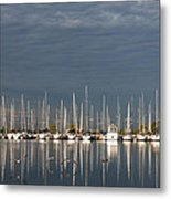 A Break In The Clouds - White Yachts Gray Sky Metal Print